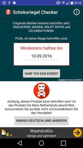 Schokoriegel Checker App